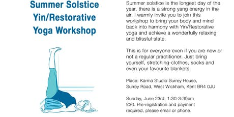 Summer Solstice Yin/Restorative Yoga  Workshop  tickets