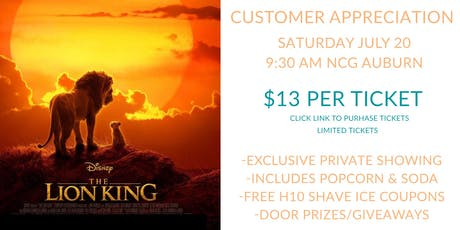 Hang 10 Customer Appreciation The Lion King tickets