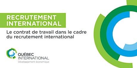 Le contrat de travail dans le cadre du recrutement international  billets