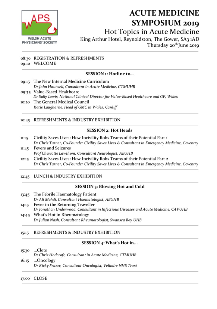 Welsh Acute Physicians' Society Symposium 2019 image