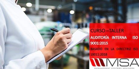 Curso-Taller: Auditoría Interna ISO 9001:2015 tickets