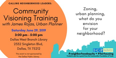 Community Visioning Training (Evening Session) with urban planner James Rojas  tickets