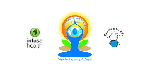 "International Yoga Day donates to ""Give me 5 for Kids"""