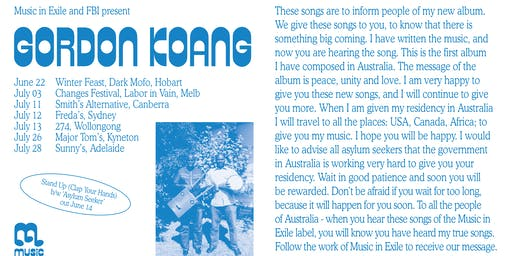 Gordon Koang (South Sudan/AU) at Major Tom's, Kyneton