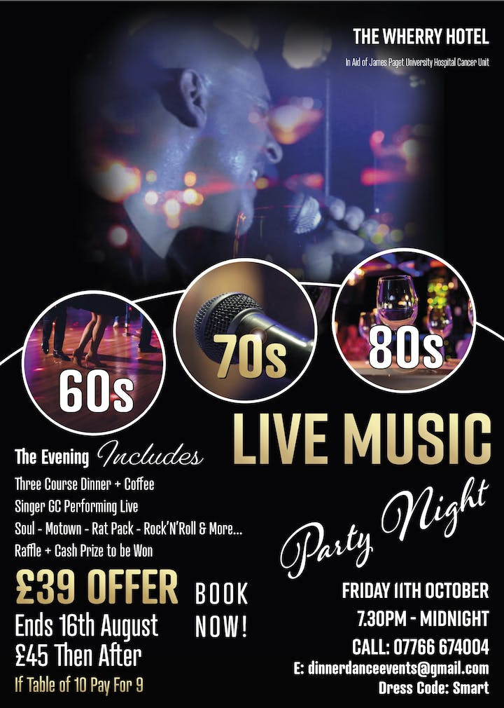Live Music 60s and 70s Dine n Dance to the Golden Classics