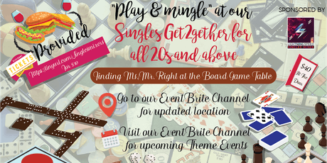 """Play and Mingle at our Singles Get2gether"" for all 20s and over: Board games and Soul mates tickets"
