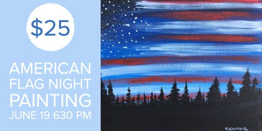 American Flag Night Canvas Painting