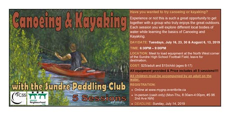 Canoeing & Kayaking with the Sundre Paddling Club tickets