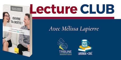 LectureCLUB : « Ouvre ta boîte ! » avec Mélissa Lapierre