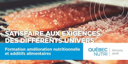 Formation - Amélioration nutritionnelle et additifs alimentaires