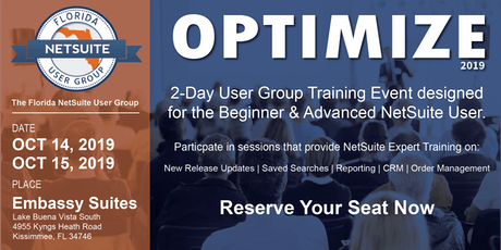 Florida NetSuite User Group-Optimize 2019 tickets