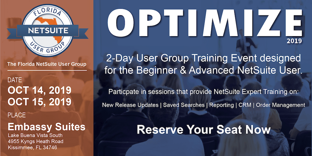 Florida NetSuite User Group-Optimize 2019 Tickets, Mon, Oct