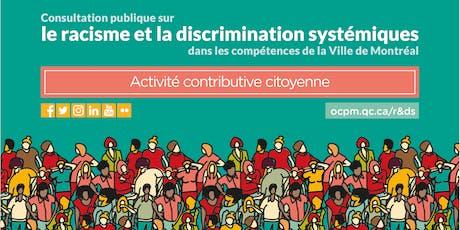 ACC de l'OCPM sur le racisme et la discrimination systémiques billets