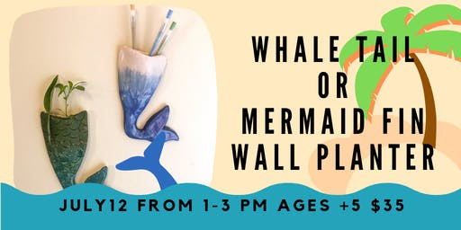 Mermaid & Whale Tail wall pockets- Kids Clay Hand Building