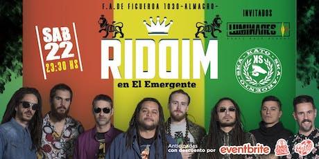 Riddim en El Emergente Almagro, Sábado 22 de Junio, 23.30hs. entradas