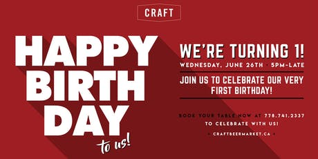 CRAFT Turns 1! tickets