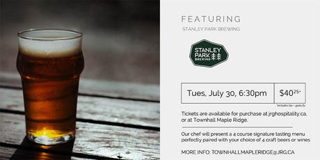 4 Course Stanley Park Brewing Pairing Dinner at Townhall Maple Ridge tickets