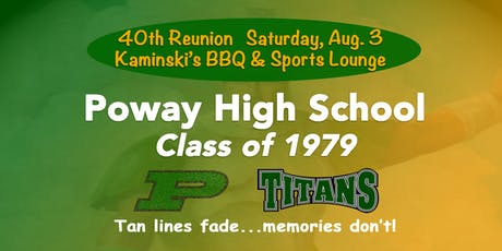 PHS CLASS OF '79 40TH REUNION-KAMINSKI'S SPORTS LOUNGE & BBQ ($40-$55/TIX) tickets