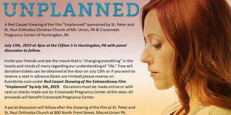 "Red Carpet Showing of the Extraordinary Film ""Unplanned"" tickets"