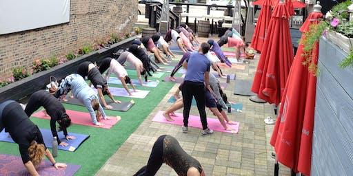 Yoga, Brunch, & Bubbles on the Patio