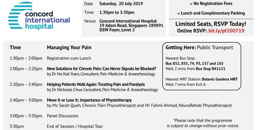 Managing Your Pain, 20 July 19 (Sat), 1.30pm to 3.30pm