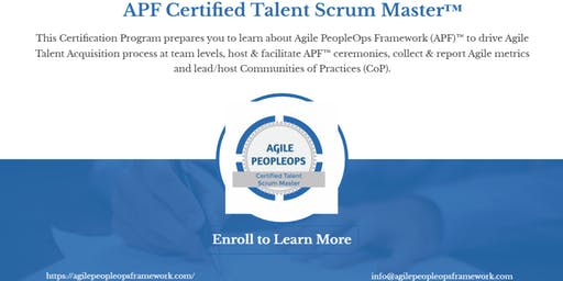 Agile PeopleOps Framework Certified Talent Scrum Master (APF CTSM)™| Edison, NJ | August 14, 2019