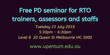 RTO Trainers & Assessors /Staffs PD tickets