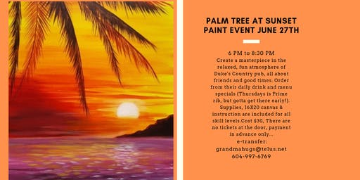 Palm Tree at Sunset Paint Event