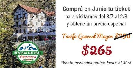 Comprá en Junio tu Ticket para visitar Villavicencio en Julio con descuento (Promo válida hasta el 30/6 para visitar la Reserva desde el 8/7 al 2/8/19)  entradas
