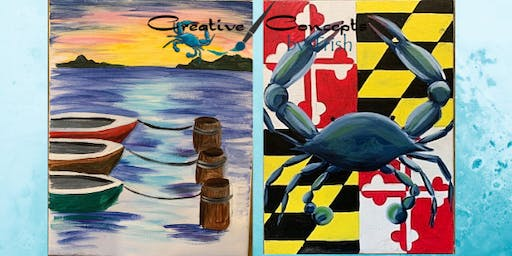 Boats on Water or MD Crab Canvas Paint Afternoon