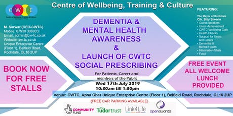 Dementia & Mental Health Awareness & Launch of CWTC Social Prescribing   tickets