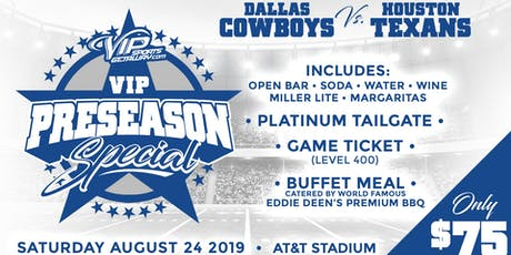 VIP Sports Getaway's Dallas Cowboys TICKET & TAILGATE Packages-TEXANS tickets