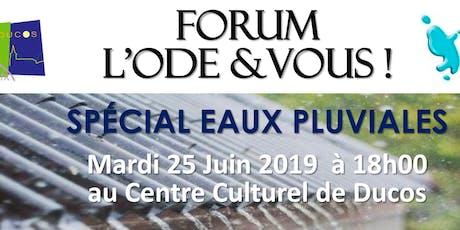 """FORUM L'ODE & VOUS ! : """"Spécial Eaux Pluviales"""" billets"""