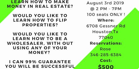 Real Estate Investing & Wholesaling Class tickets