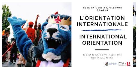 Orientation internationale 2019/2020 | International Orientation 2019/2020 tickets