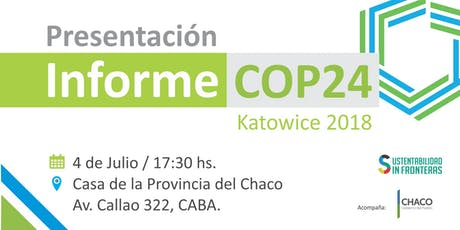 Presentación Informe COP24 Cambio Climático entradas