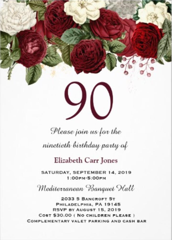 90th Birthday Celebration For Elizabeth Carr Jones