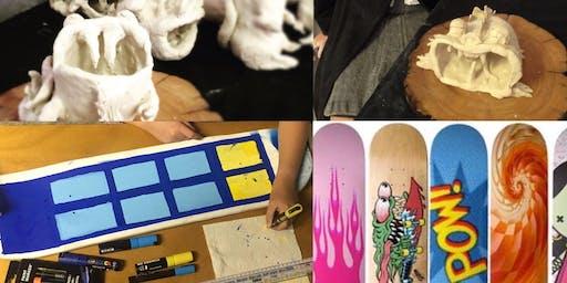 Winter School Holiday Kids Art Workshops - Dumbledores Dragons & Design your own Skate deck