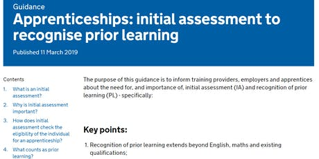 Apprenticeship service: Recognised prior learning - third session tickets