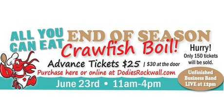 Dodie's Cajun Diner Rockwall All U Can Eat Crawfish Boil tickets
