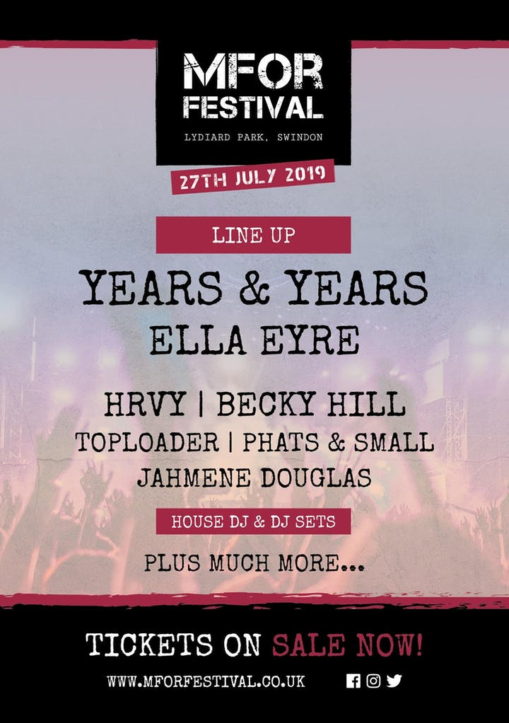 Years & Years, Ella Eyre, HRVY, Becky Hill, Toploader, Phats & Small