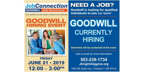 Goodwill is Hiring - Portland - 6/21/19 tickets