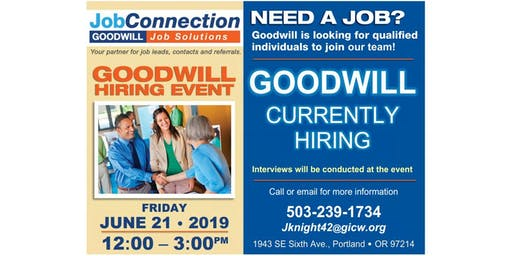 Goodwill is Hiring - Portland - 6/21/19