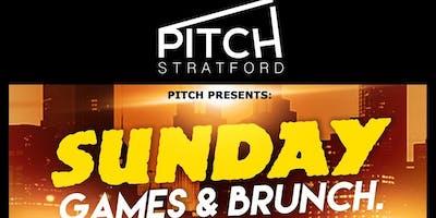 PITCH. (SUNDAY GAMES & BRUNCH) @ PITCH STRATFORD. LONDON £5. GAMES, MUSIC, DJ's, FOOD, DRINKS at PITCH Stratford, London, United Kingdom on Sun 30th Jun at 15:00