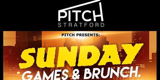 PITCH. (SUNDAY GAMES & BRUNCH) @ PITCH STRATFORD. LONDON £5. GAMES, MUSIC, DJ's, FOOD, DRINKS at PITCH Stratford, London, United Kingdom on Sun 30th Jun at 15:00
