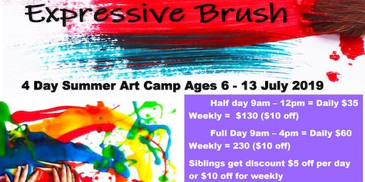 4 Day Summer Art Camp Ages 6 - 13 July 2019
