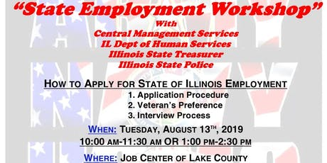 State Employment Workshop with CMS, IDHS, Treasurer & ISP (Lake County) tickets