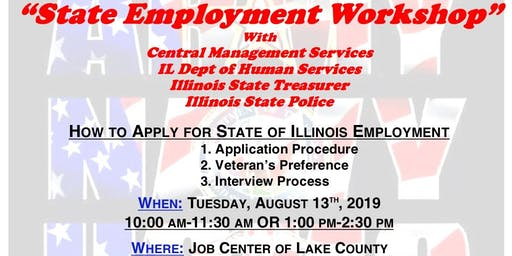 State Employment Workshop with CMS, IDHS, Treasurer & ISP (Lake County)