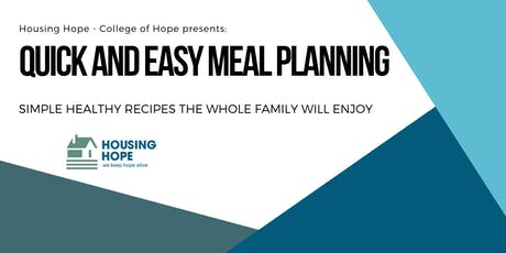 Quick and Easy Meal Planning tickets