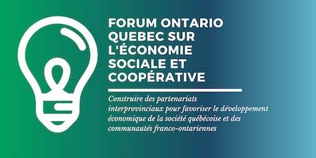 Forum Québec-Ontario sur l'économie sociale et coopérative tickets